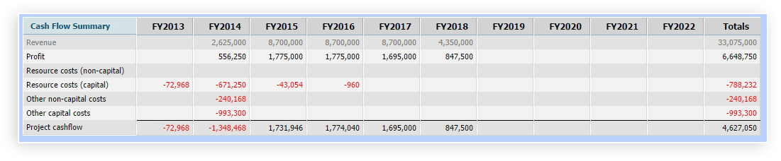 Project Cash Flow Summary by Fiscal Year