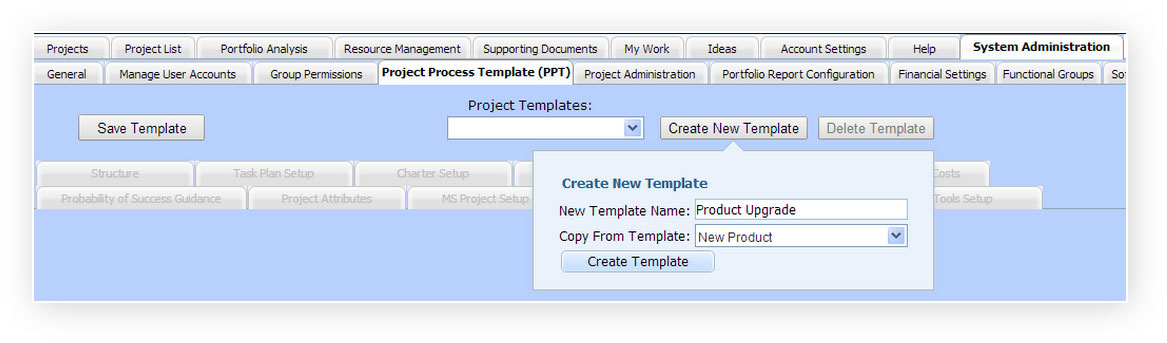 Creating a new Project Process Template